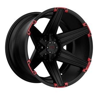 Tuff A/T T12 SATIN BLACK W/ RED INSERTS