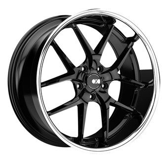 XO Luxury Wheels NEW YORK GLOSS BLACK W/ STAINLESS STEEL LIP